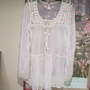 Free People Sheer Ivory Lace Blouse Shirt Top